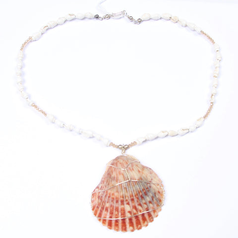 Large Seashell Beaded Necklace