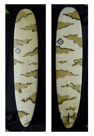 longboard by DMZ surfboards with camouflage paint job