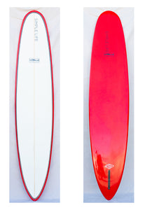 DMZ surfboard with white top, red rails and red bottom