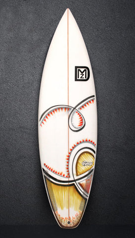 white surfboard with art by JonTom hand shaped by DMZ Surfboards