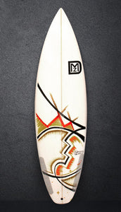 white DMZ Surfboard with hand art by JONTOM