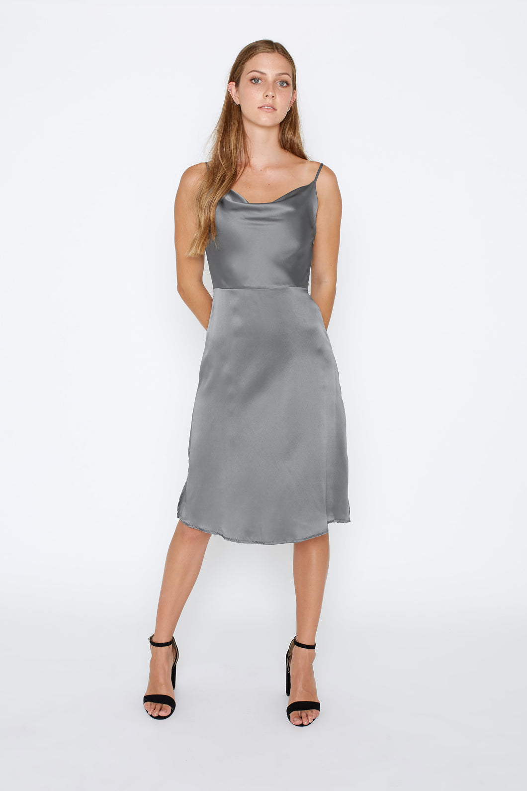 Amy Dress - Gunmetal Grey - Size 8