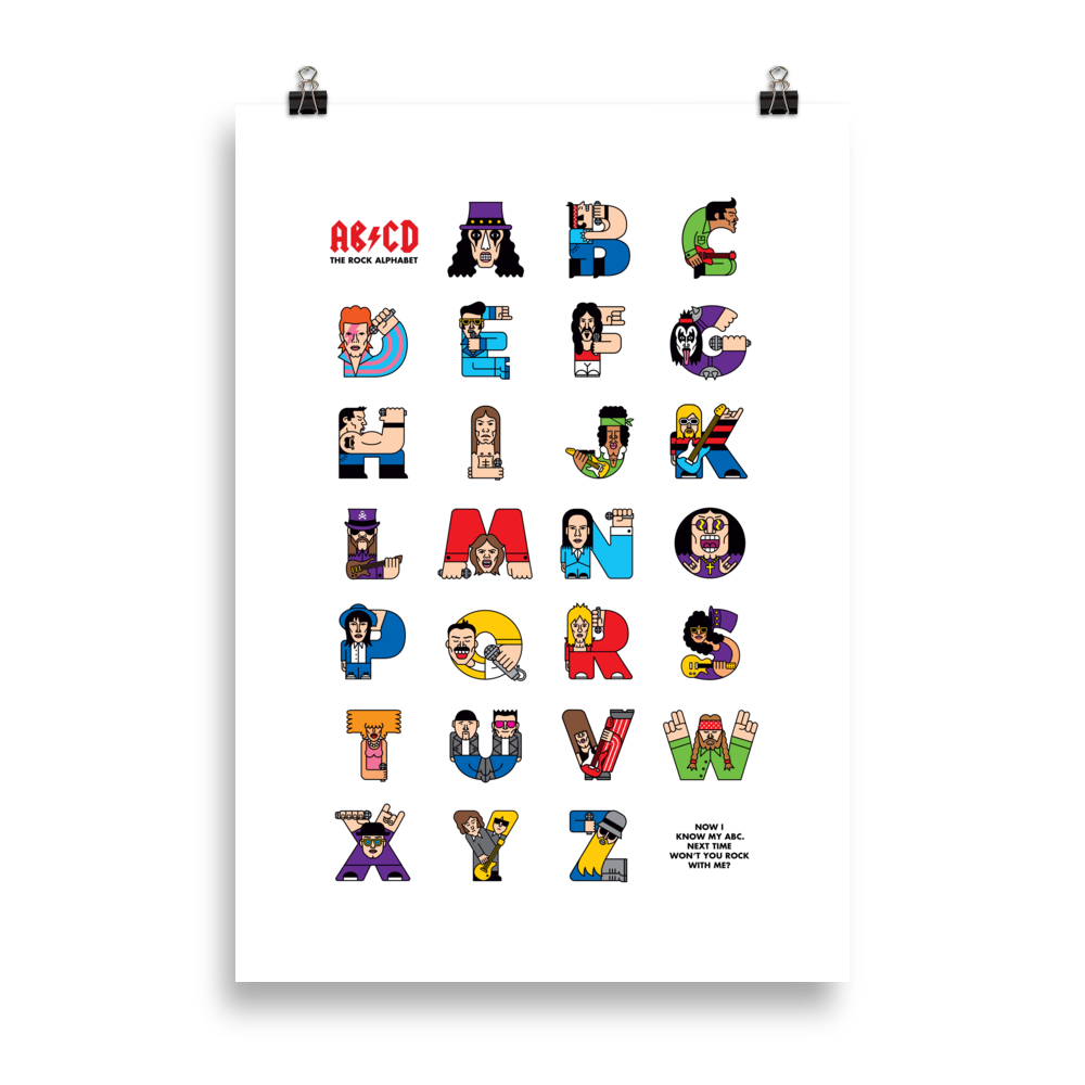 Rock ABC Poster (cm) - The Andy Shop
