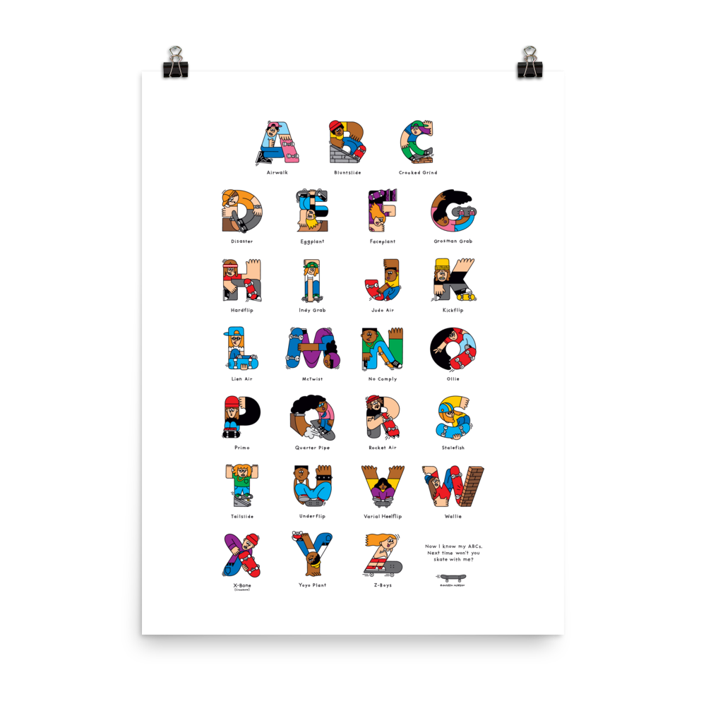 Skateboard ABC Poster - The Andy $hop