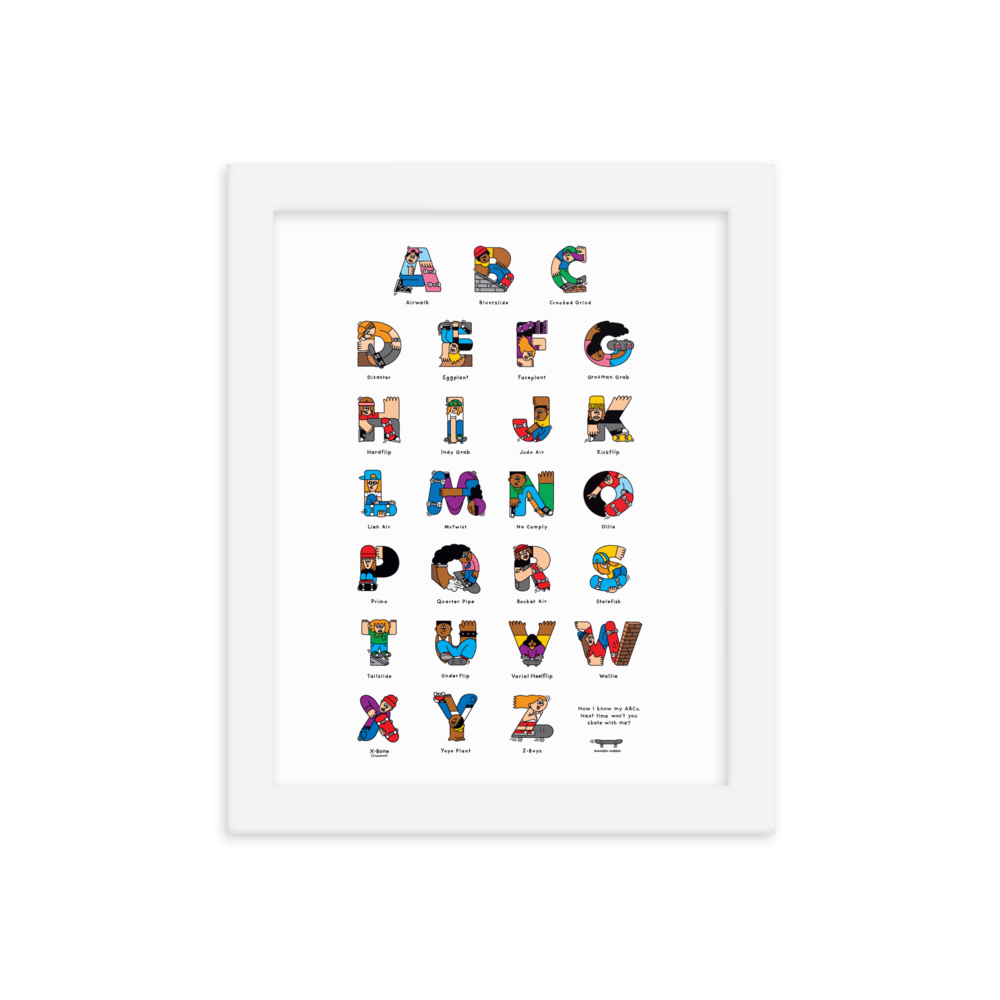 Skateboard ABC Framed poster - The Andy $hop
