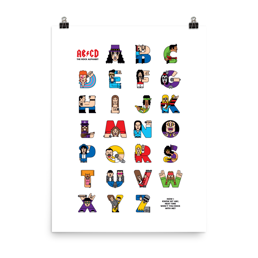 Rock ABC Poster (Inches) - The Andy Shop