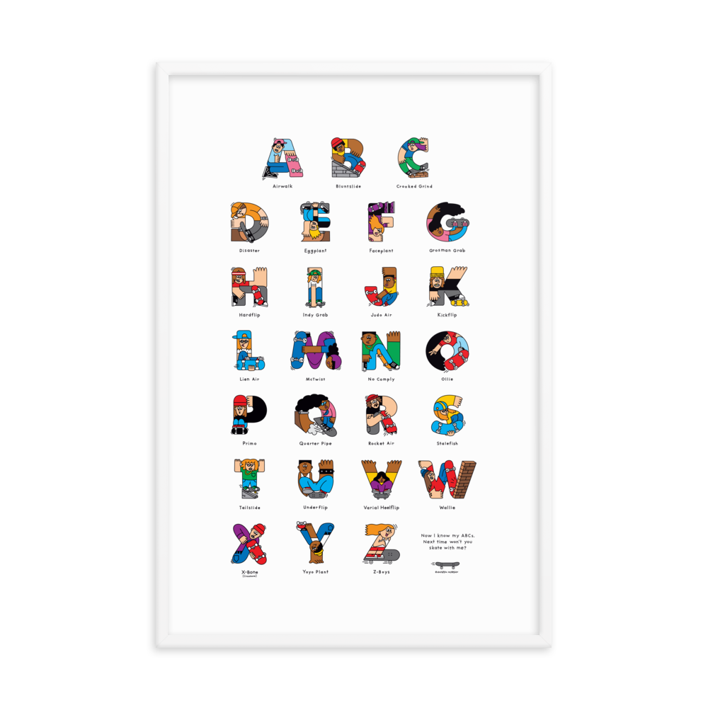 Skateboard ABC Framed poster (Inches) - The Andy Shop