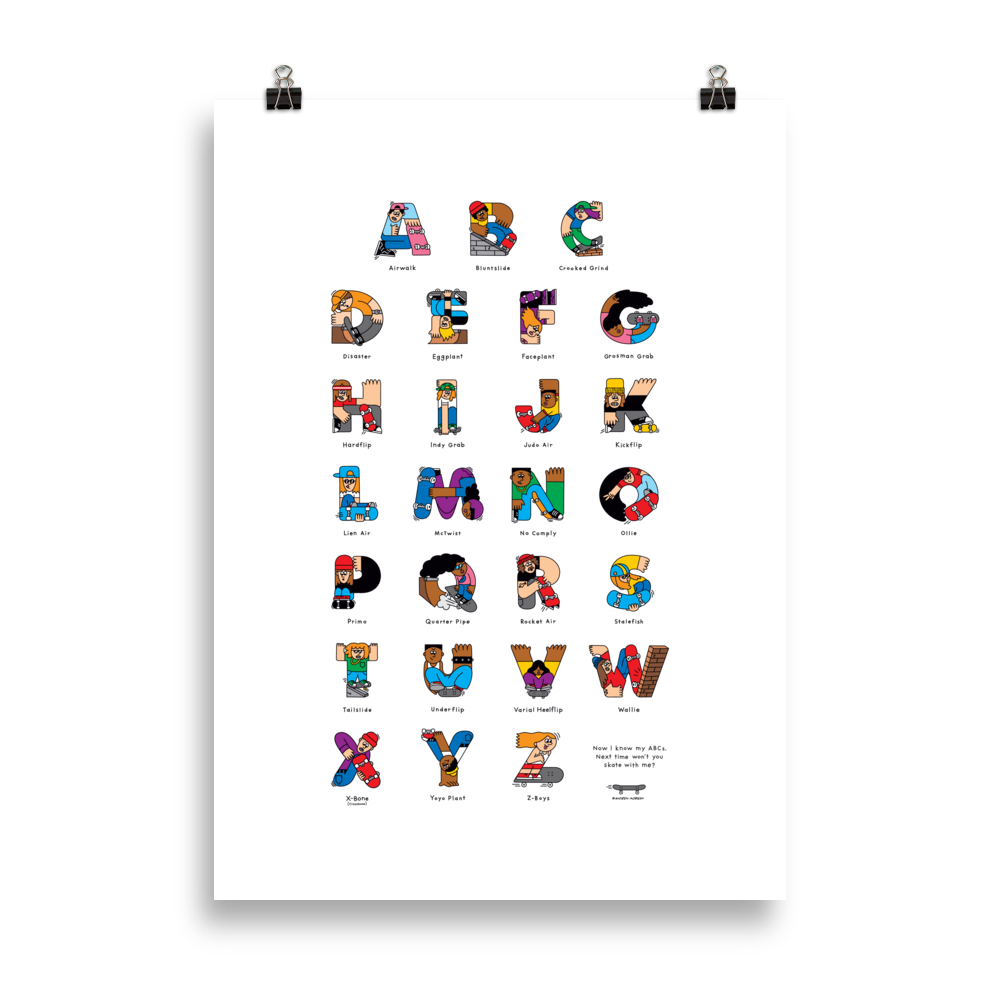 Skateboard ABC Poster (cm) - The Andy Shop