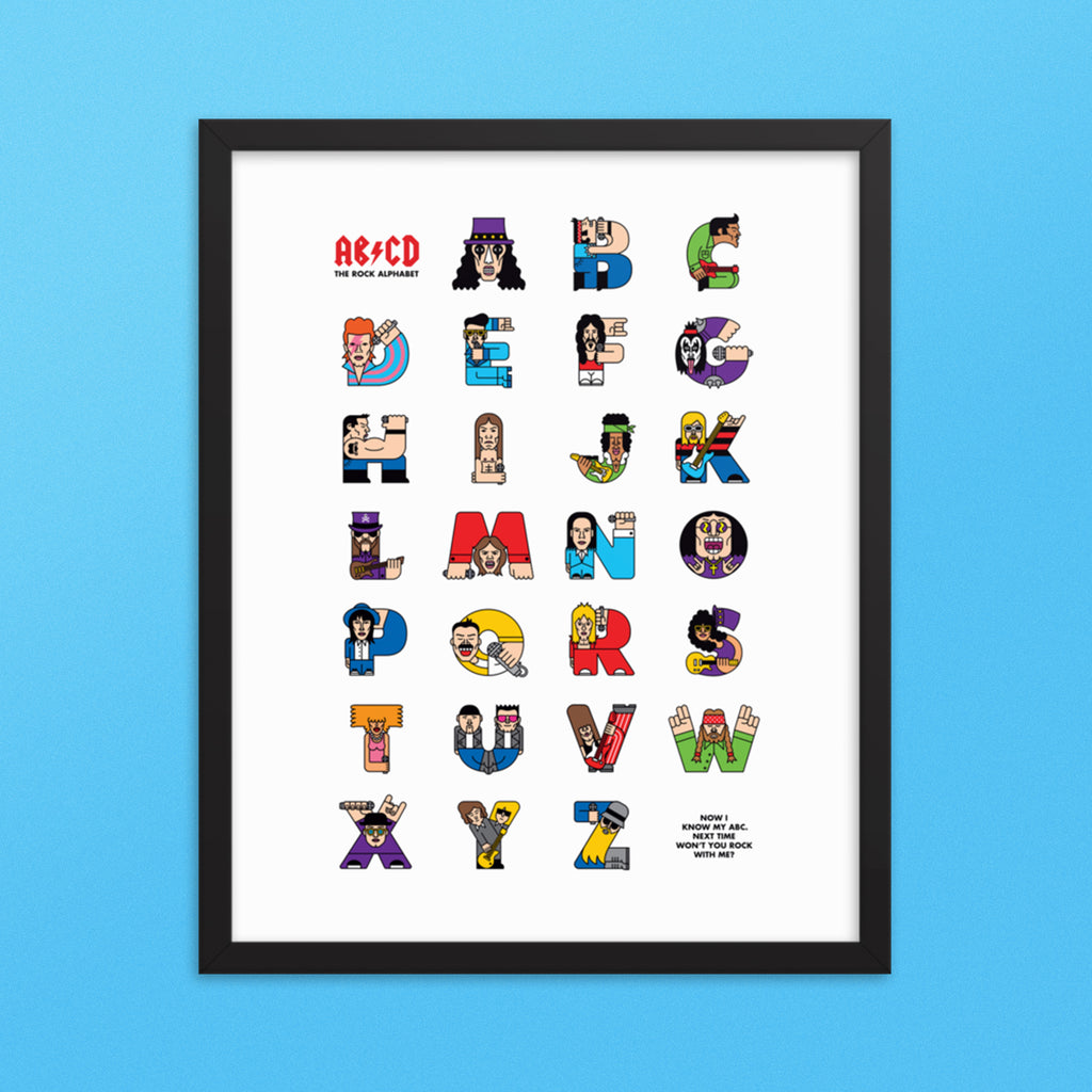 Rock ABC Framed Poster (Inches) - The Andy Shop