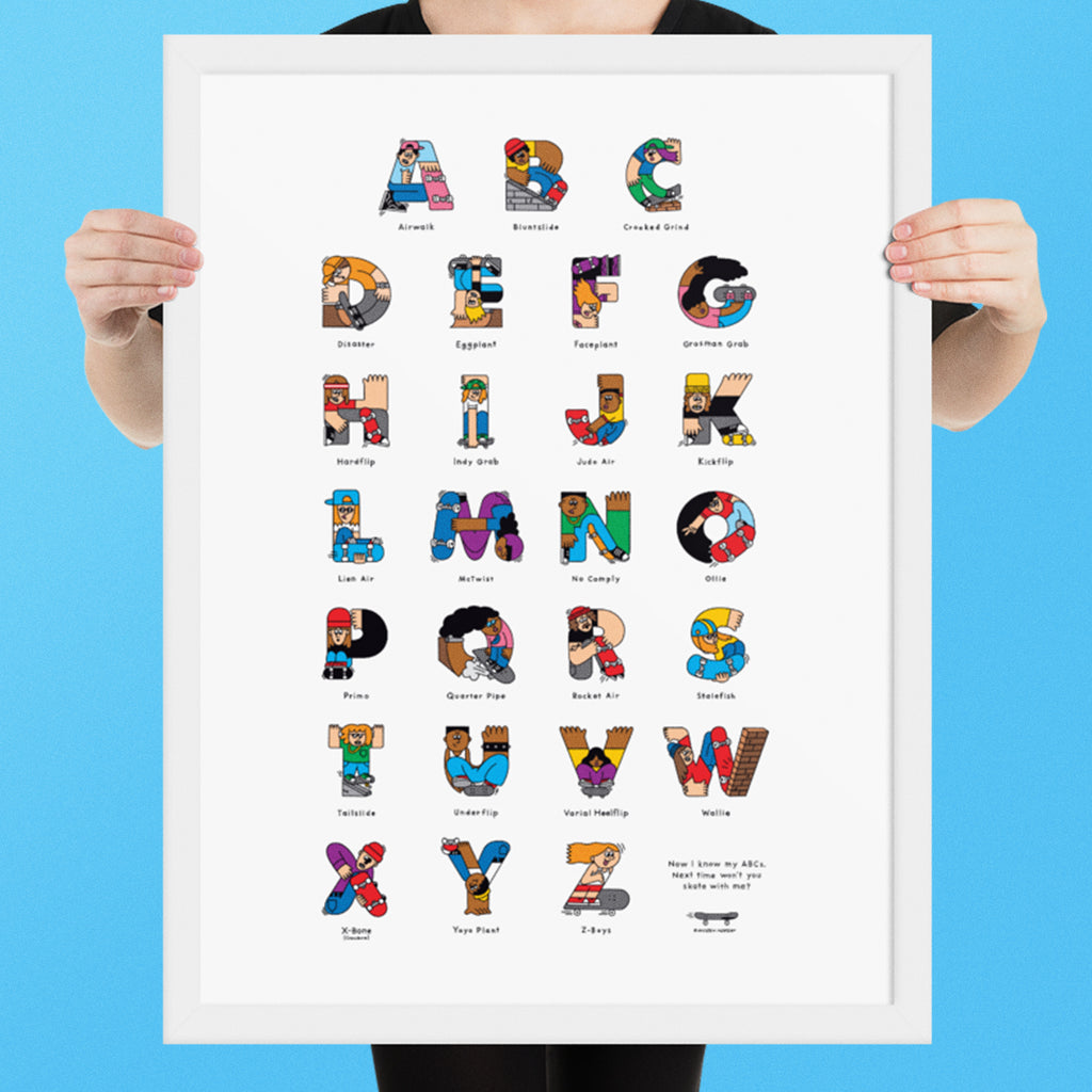 Skateboard ABC Framed poster (Inches) - The Andy $hop