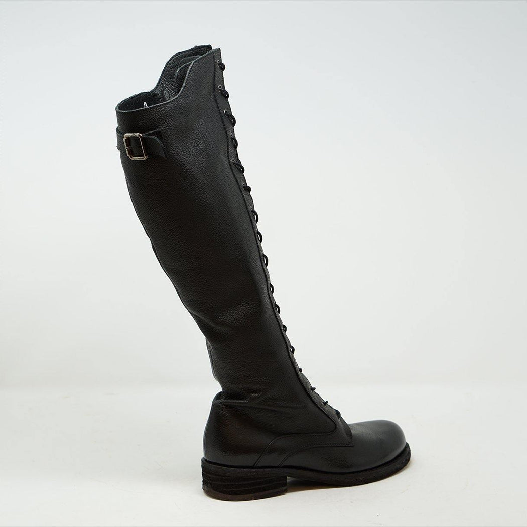 Felmini Tara - Long Lace Up Boot Black