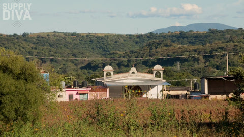 Rural Mexico view with Church