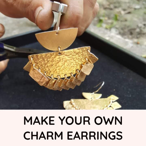 Buy Hammered Half Circle and Charm Earring Kit online