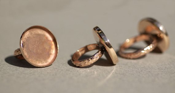 Copper Bezel Cup Ring with Textured Vine Shank, 20mm round cup