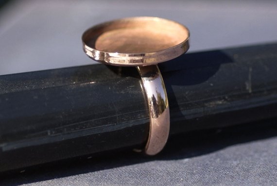 Copper Bezel Cup Ring with Plain Round Shank, 20mm round cup
