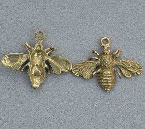 Buy RESERVED For Richard Only Cast Bronze Bee Charm - Detailed Honey Bee Pendant online