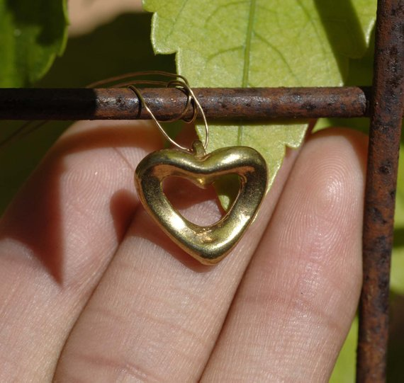 Cast Bronze Puffy Heart Charm