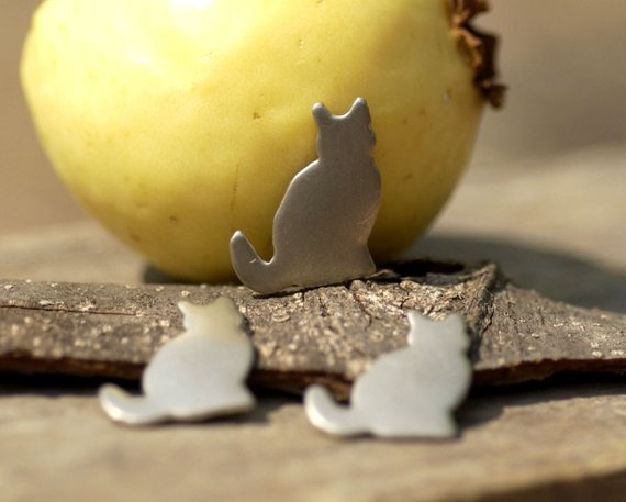 Cat Shaped Metal Blanks - Sitting Cat - DIY Jewelry Supplies by SupplyDiva