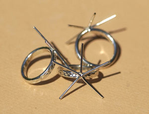 Buy Handmade Claw Ring, Hammered Shank 5 prongs online
