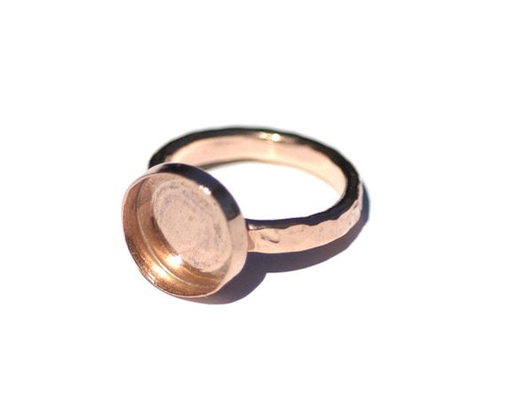 Copper Bezel Cup Ring with Hammered Shank, 12mm round cup