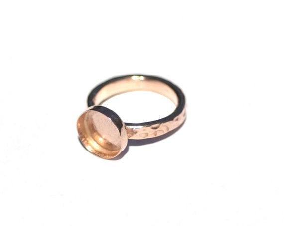 Copper Bezel Cup Ring with Hammered Shank, 10mm round cup