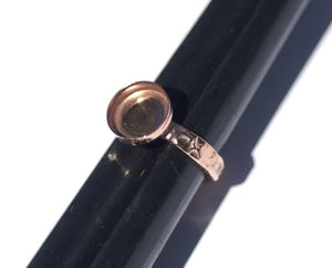 Buy Copper Bezel Cup Ring with Hammered Shank, 10mm round cup online