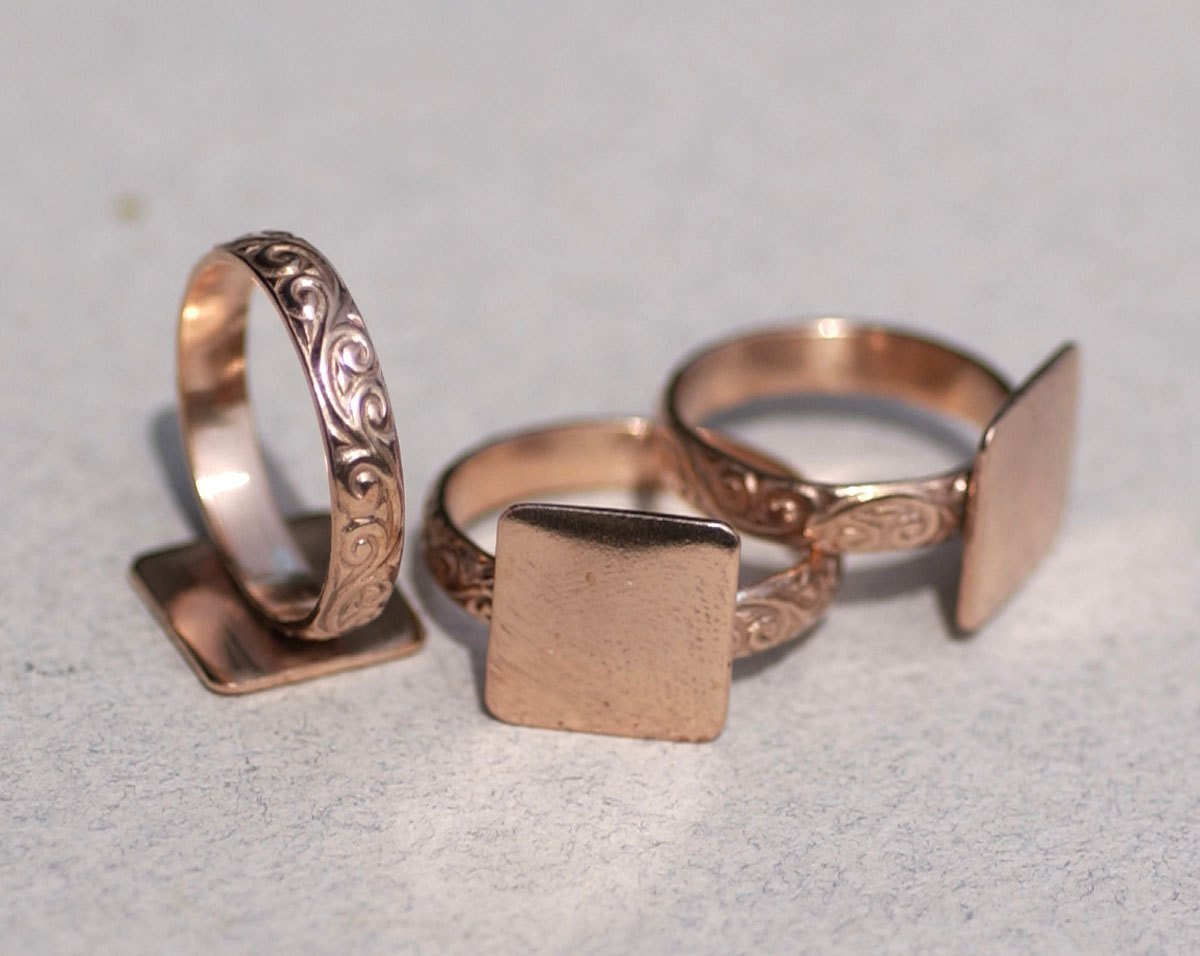 Handmade Square glue pad ring with vine pattern in copper