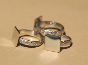 Handmade Square glue pad ring with vine pattern in nickel silver