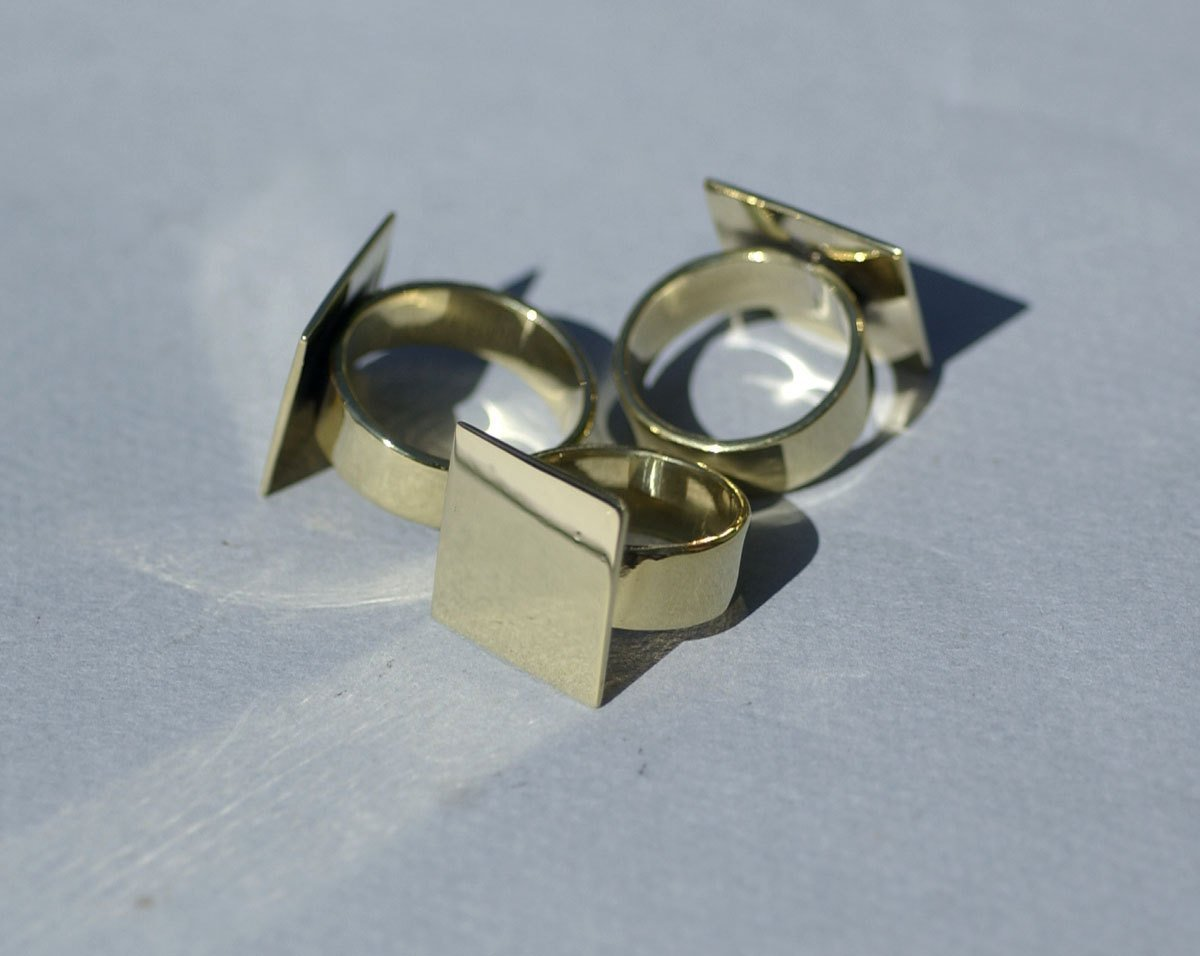 Handmade Square glue pad ring in brass