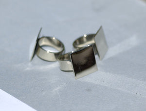 Handmade Square glue pad ring in nickel silver