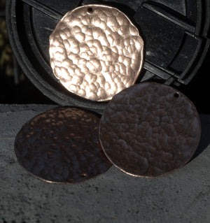 Buy Copper Blank Hand Hammered with Hole 26G 30mm Disc Blank Cutout for Enameling Stamping Texturing - 1 3/16 inch - 2 Pieces online