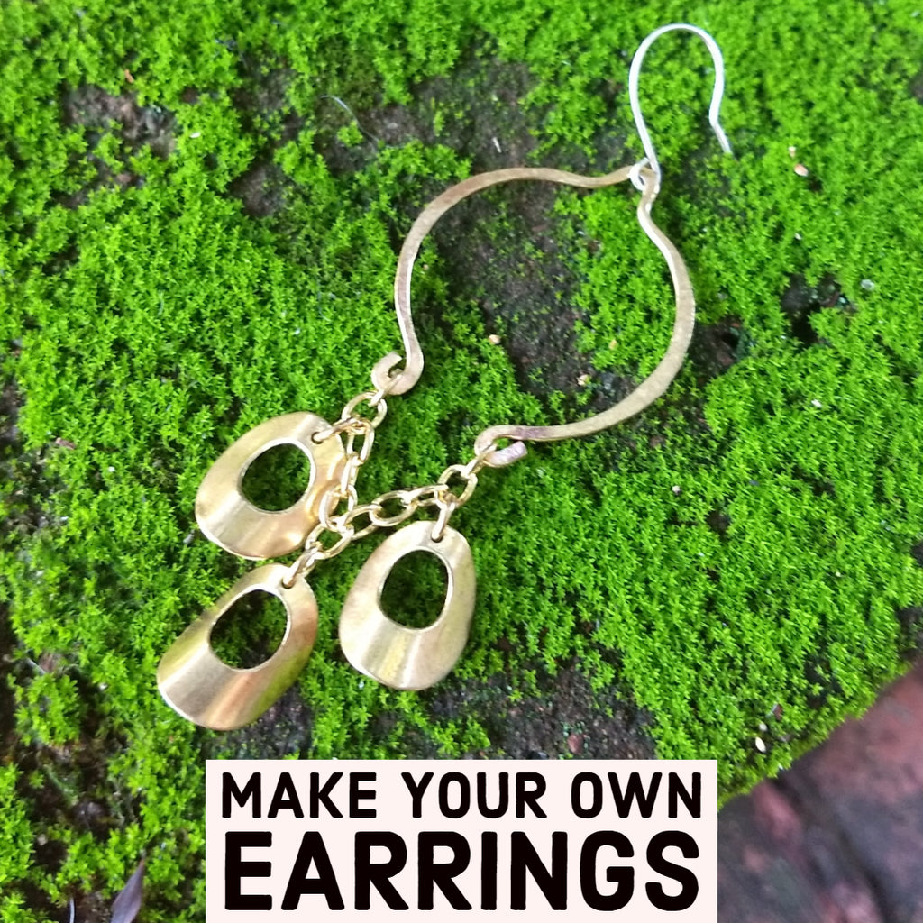 Curved Donut Charms on Chain - DIY Earring Kit