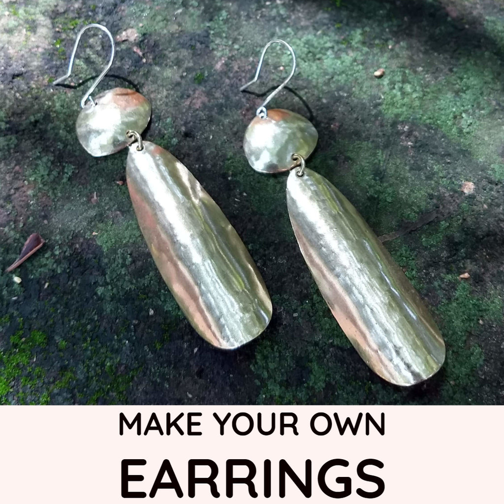 Simple Lightly Hammered Long Teardrop Earring Kit