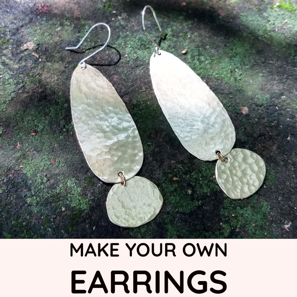 Simple Hammered Long Teardrop Earring Kit