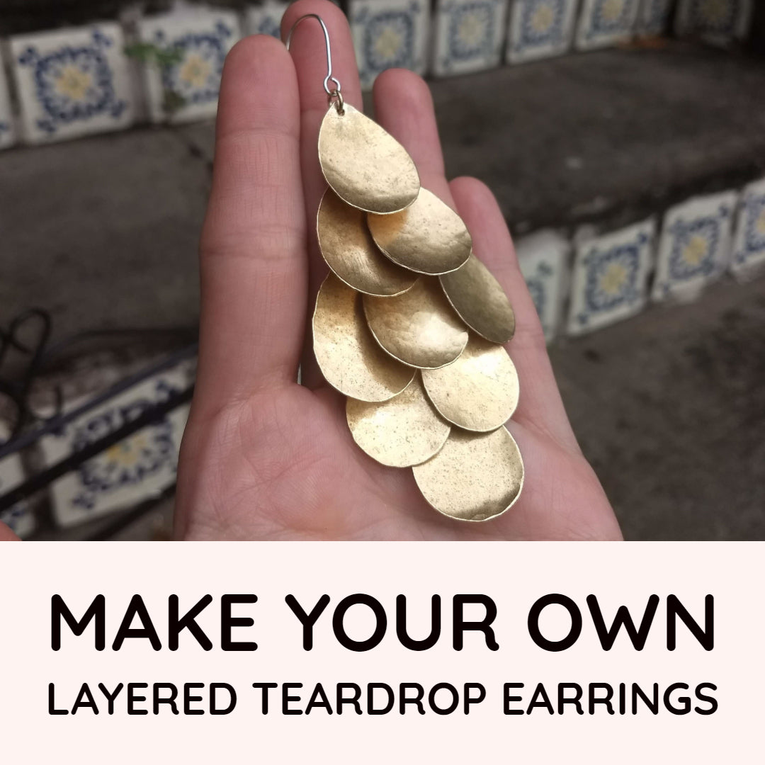 Buy Layered Hammered Teardrop Earring Kit online