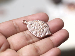 Leaf Charm Antique Hammered with Hole 34mm x 19mm