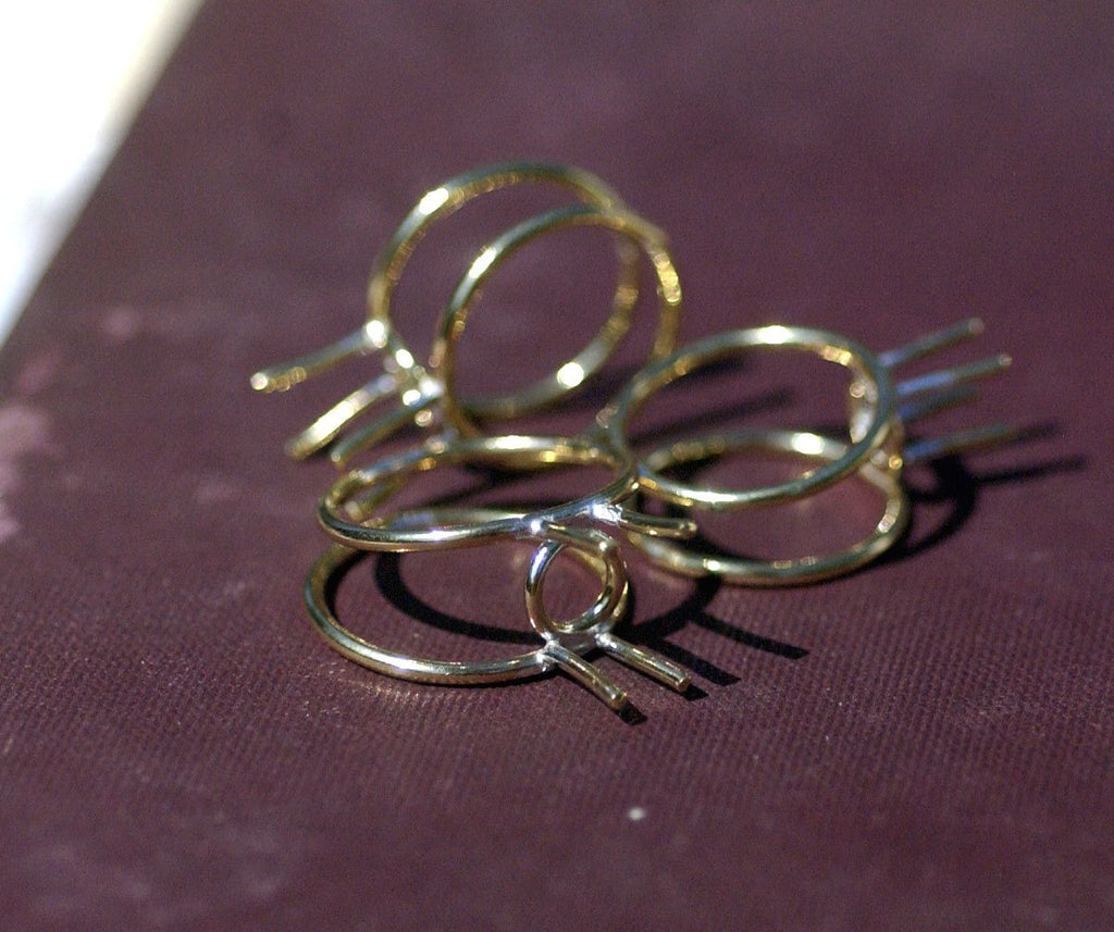 Handmade Soldered Brass Ring with Prongs For Stones or Whatever size-Variety