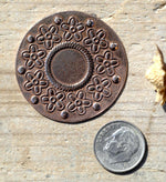Metal Disc in Flowers Texture, Enameling Soldering Stamping Blank, Jewelry Supplies - 4 Pieces