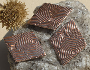 6 Diamonds in Pattern 24mm x 19mm Handmade Enameling Stamping Texturing Soldering Blanks 6 Pieces