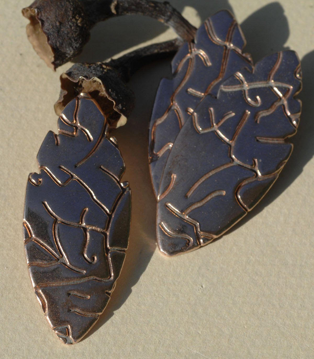 Large Leaf Blank 47mm x 20mm Cutout Shape - Enameling Stamping Texturing Blanks - Variety of Metal