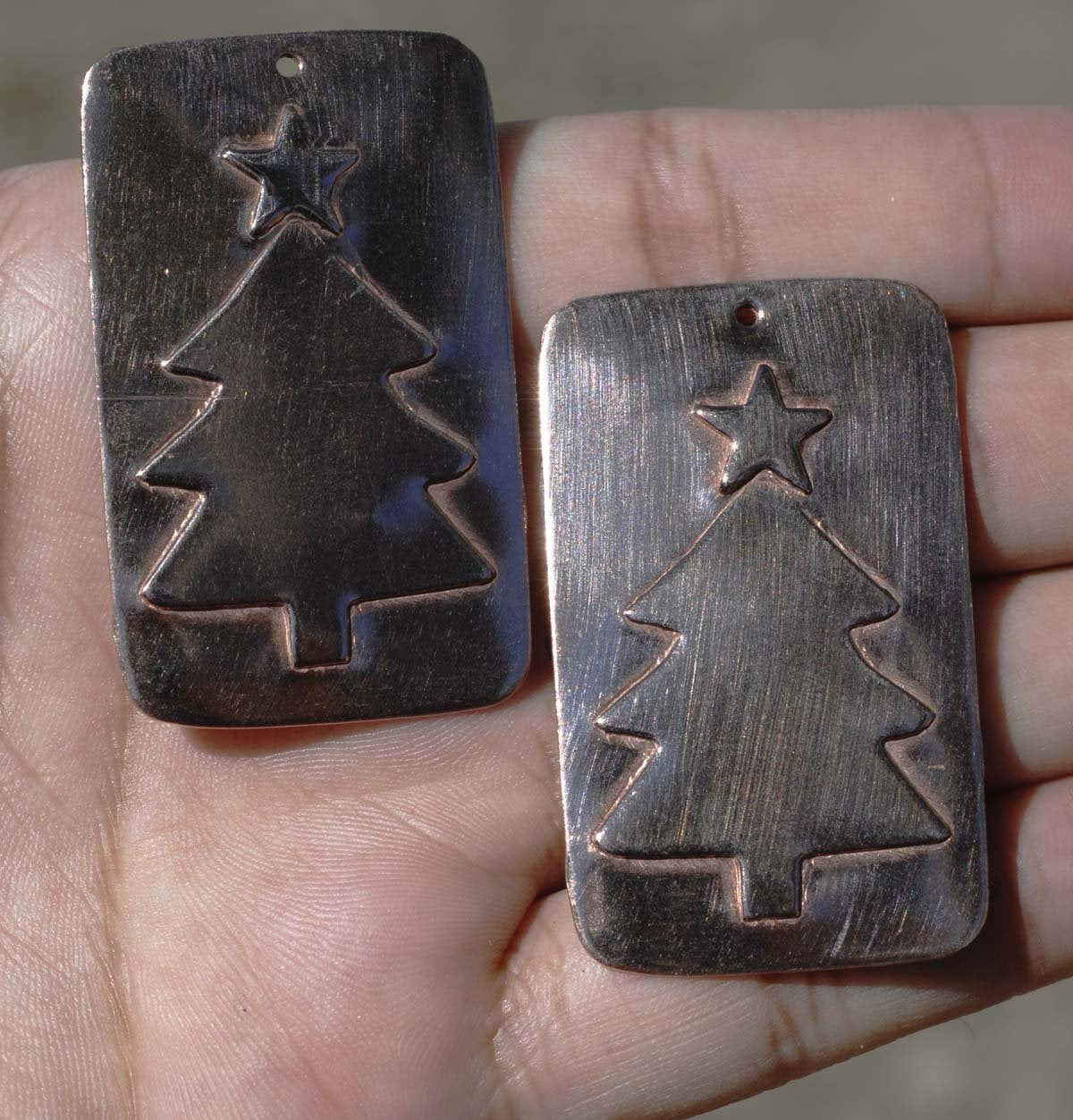 Rectangle With Christmas Tree Embossed Blank for Enameling Soldering Stamping Texturing - Variety of Metals - 3 pieces