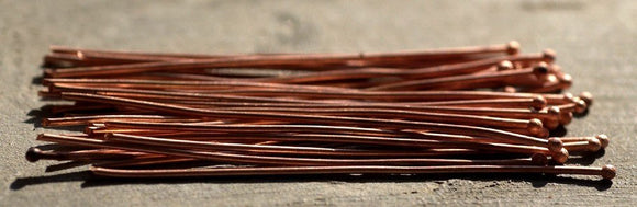 Handmade Copper Ball Headpins 18 gauge - 2 1/4 inch long - 57mm - 25 pieces