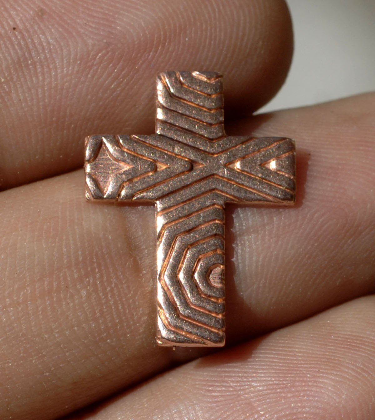 Religous Cross Textured Cutout for Enameling Stamping Texturing Blanks - Variety of Metals 6 Pieces