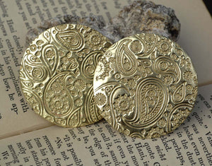 Paisley Pattern Disc 50mm 24G Metalworking Supplies, Pendant Jewelry Charms - 2 Pieces