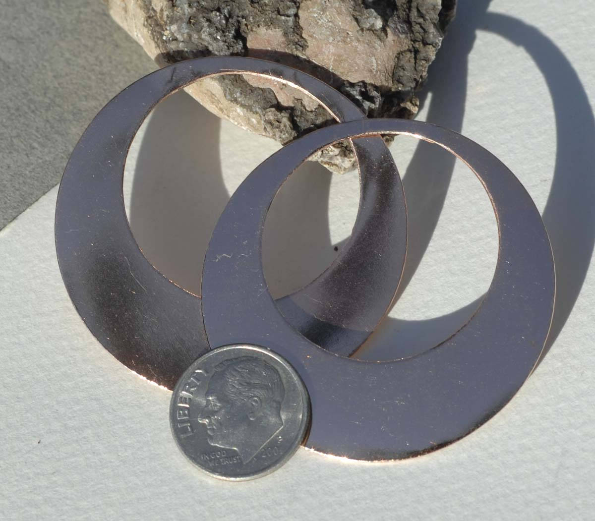 45mm Jewelry Blanks Hoops 26G for Earrings or Pendant Offset Circle for Enameling Stamping Texturing, Supplies - 4 Pieces