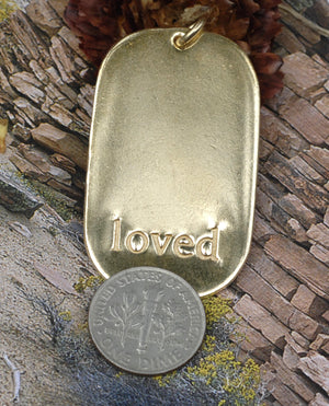 Large Dog Tag Loved Stamping 42mm x 25mm Cutout Shape with hole for Metalwork Texturing Blanks - 4 pieces
