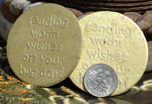Sending Worm Wishes on your Birthday Disc Acid Etched Pair 45mm Brass