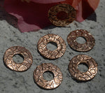 Copper Donut Washer 14mm 24g Snakeskin Polished Textured Blanks Shape - Lampwork Beadcaps Possibly