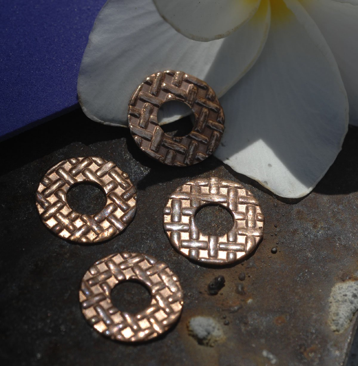 Copper Donut Washer 14mm 24g Tight Weave Polished Textured Blanks Shape - Lampwork Beadcaps Possibly