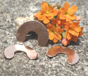 Copper U Blanks 25mm for Enameling Stamping Texturing Soldering Shape Charms Jewelry Making - 6 pieces